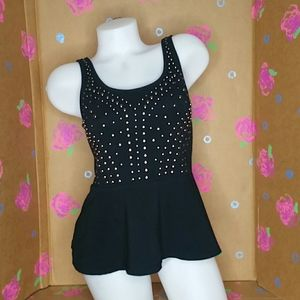 Express Black Peplum Tank with Silver Studs Size M